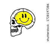skull with happy face black... | Shutterstock .eps vector #1728197386