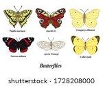 Butterflies Set. Vector...