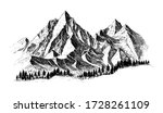 mountain with pine trees and...   Shutterstock .eps vector #1728261109