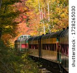 The Conway Scenic Railway train as it travels through the White Mountain National Forest near Bartlett, New Hampshire