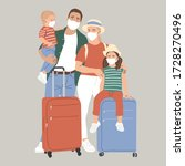 a family with suitcases in face ...   Shutterstock .eps vector #1728270496