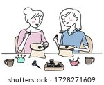 Two Cute Women Crafting At...