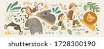 animals in the jungle and...   Shutterstock .eps vector #1728300190