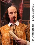 Small photo of William Shakespeare, London, UK - March 20, 2017: William Shakespeare wax figure at museum London. (1564 –1616) English poet, writer, playwright & actor, stock, photo, photograph, picture, image