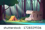 summer morning landscape with... | Shutterstock .eps vector #1728329536