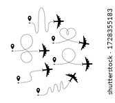 set of plane paths with start...   Shutterstock .eps vector #1728355183