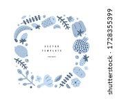 vegetable frame border  blue... | Shutterstock .eps vector #1728355399