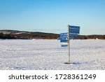 Road Sign For Snowmobiles In...