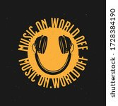 headphones t shirt smile slogan ... | Shutterstock .eps vector #1728384190