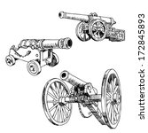 Old Cannons Drawings Set On...