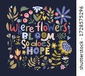 floral color vector lettering... | Shutterstock .eps vector #1728575296