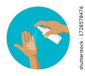 sprays an antiseptic on the... | Shutterstock .eps vector #1728578476