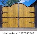 Brown Wooden Gate With Metal...
