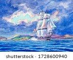 Old Big Sailboat. White Sail On ...