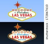 las vegas sign. day and night.... | Shutterstock .eps vector #172867610