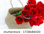 Bright Bouquet Of Red Tulips...