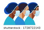 nurses in medical mask and hat. ... | Shutterstock .eps vector #1728722143
