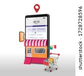 shopping online on mobile... | Shutterstock .eps vector #1728728596
