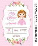 baby shower card with little... | Shutterstock .eps vector #1728742129
