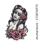 day of dead sexy girl with... | Shutterstock .eps vector #172876973