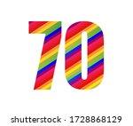 70 Number Rainbow Style Numera...