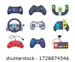 game console objects set.... | Shutterstock .eps vector #1728874546