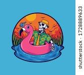 summer skull swimming vector... | Shutterstock .eps vector #1728889633