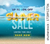 summer sale design with 3d... | Shutterstock .eps vector #1728912736