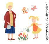 grandmother with child watering ... | Shutterstock .eps vector #1728949426