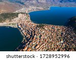 Aerial view the city of Kastoria and Lake Orestiada in northern