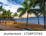 Small photo of Townsville, Queensland, Australia - Apr 16, 2017: Beautiful sunset on a palmy beach