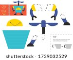 cut and glue paper toy vector... | Shutterstock .eps vector #1729032529