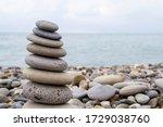 Pyramid Of Sea Stones On The...