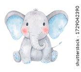 Cute Baby Elephant Watercolor...
