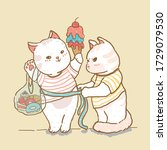 cute cat measure lady cat...   Shutterstock .eps vector #1729079530