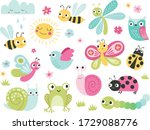 cute bugs and animals character ... | Shutterstock .eps vector #1729088776