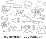 cute cartoon bugs coloring page ... | Shutterstock .eps vector #1729088779