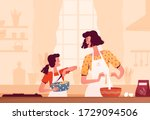 cheerful mom and daughter cook... | Shutterstock .eps vector #1729094506