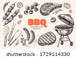 set of barbecue elements drawn ... | Shutterstock .eps vector #1729114330