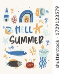 hello summer childish poster... | Shutterstock .eps vector #1729123579