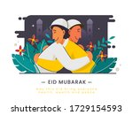 muslim men hugging to each... | Shutterstock .eps vector #1729154593