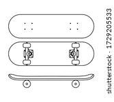 Skateboard Icon In Line Art...