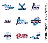 set of social telecommunication ... | Shutterstock .eps vector #1729206043
