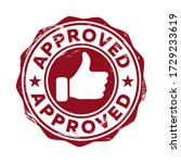 approved. red stamp icon with a ... | Shutterstock .eps vector #1729233619