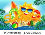 summer time vector banner... | Shutterstock .eps vector #1729235203