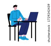 man worker sitting on chair and ...   Shutterstock .eps vector #1729242439