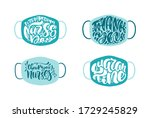set thank you nurses lettering... | Shutterstock .eps vector #1729245829