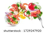 salad of bowl explosion with... | Shutterstock .eps vector #1729247920