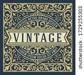 vintage logo with floral details | Shutterstock .eps vector #1729255303