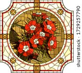 vector mosaic with blooming red ... | Shutterstock .eps vector #1729257790